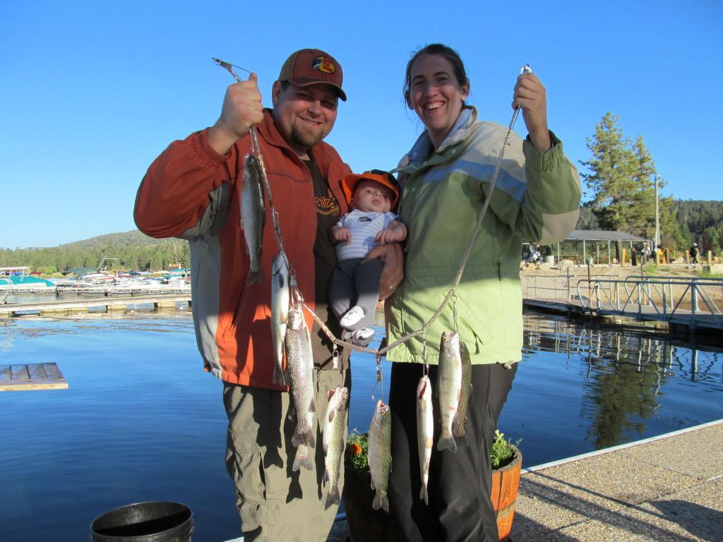 Dad, Mom and Baby Catchin' Trout